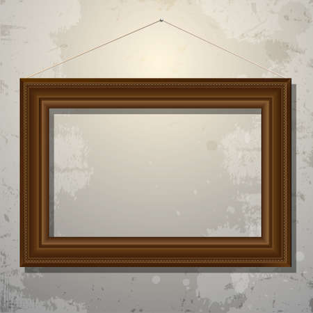 concrete stairs: Wooden empty frame of picture on old wall