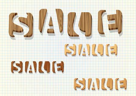 barter: 3d wooden  Sale  word  Illustration
