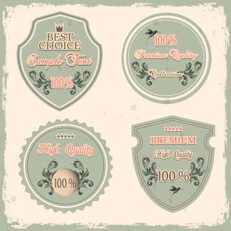 Set of Premium Quality labels  Vintage design style Vector