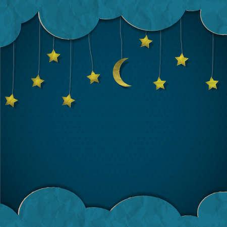 luna caricatura: Luna y estrellas de papel de arte vectorial
