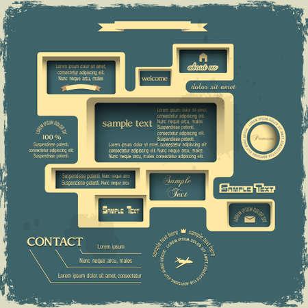 Web design in Retro style  template  Stock Vector - 14414487