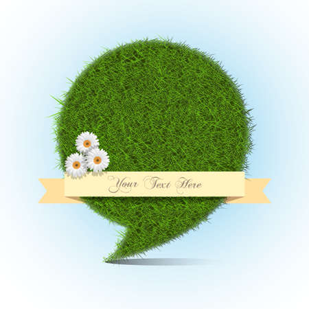 Stylized grass bubble speech with banner for text  Vector