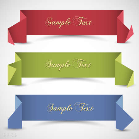 Three origami banners for design  Vector eps10 Vector