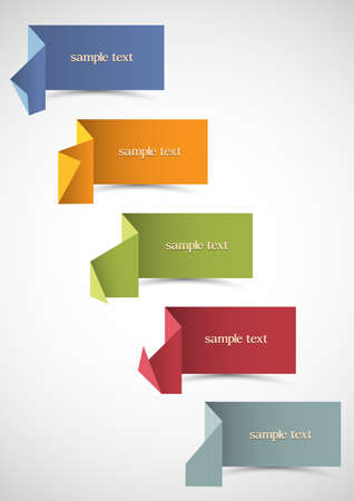 set of origami banners for design  Vector