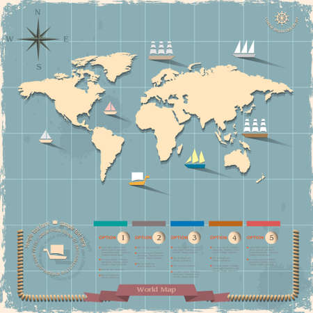 marine ship: World map in retro style design