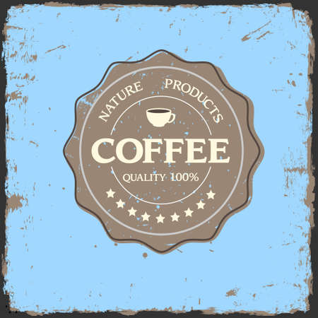 vintage coffee: Grunge label quality with coffee cup