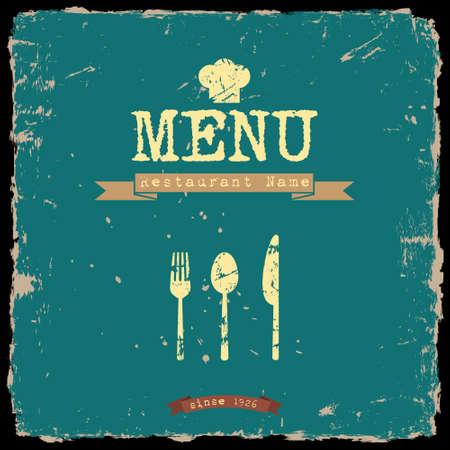 soup spoon: menu van het restaurant Retro stijl ontwerp Stock Illustratie