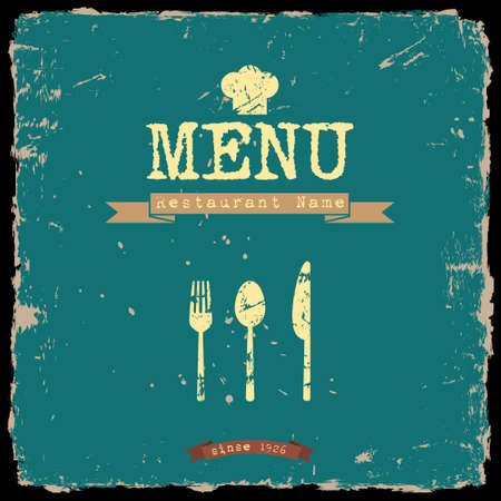 messy kitchen: restaurant menu  Retro style design