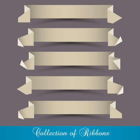 set of origami paper ribbons-banners  Retro style design Vector