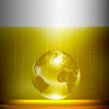 Beer background with globe. Conceptual illustration Vector