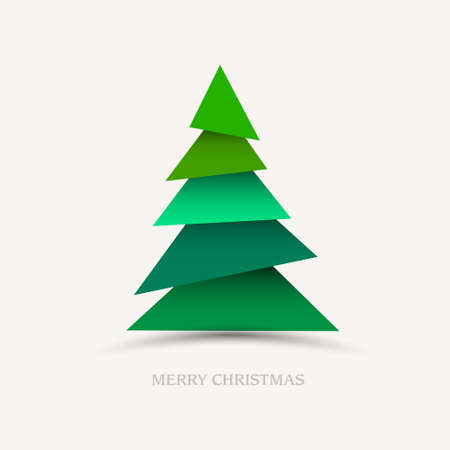 Paper christmas tree. New year card  Vector