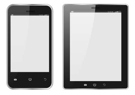 Realistic Digital tablet PC and Mobile phone with blank screen isolated on white. Vector