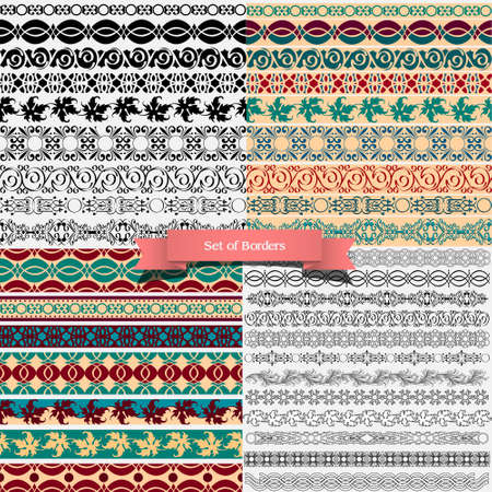 Big set of of vintage borders for design. Stock Vector - 14604172