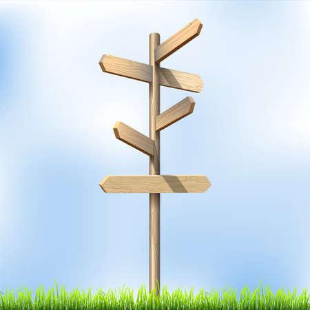 letrero: Dirección ilustración señales de tráfico de madera.