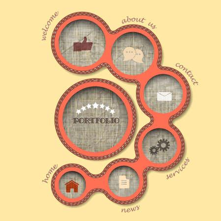 Textile web design bubbles in retro style. Vector template  Vector