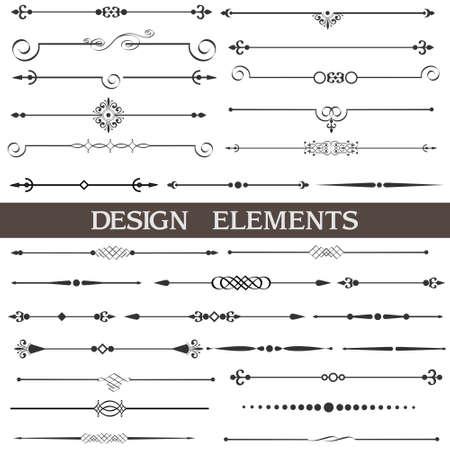 accents: Conjunto de elementos de dise�o caligr�fico y decoraci�n de p�gina Vectores