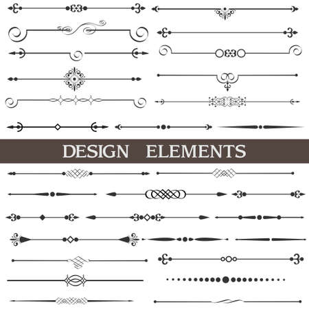 Set of calligraphic design elements and page decor  Stock Vector - 14604002