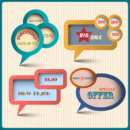 discount banner: Four various bubbles for design. Retro style Illustration
