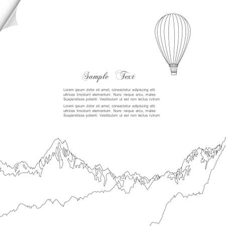 Sketch of hot air balloon over mountains Vector