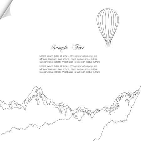 adventure aeronautical: Sketch of hot air balloon over mountains Illustration