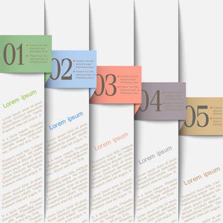 fedő: Függőleges papír számozott banners.Design sablon Illusztráció