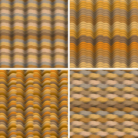 Abstract warm colored waves  seamless pattern. Vector set Stock Vector - 14659813