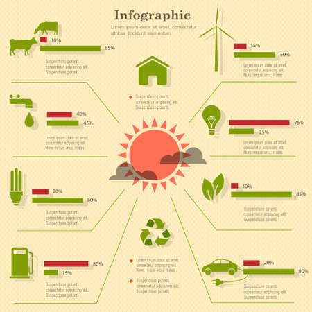 visualize: Eco elementi infographic. Vector set Vettoriali
