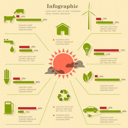 husbandry: Eco infographic elements. Vector set Illustration