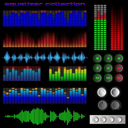 reflexe: Equalizer et des boutons logiciels. Vecteur ensemble Illustration