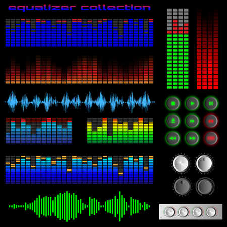 audio: Equalizers and software buttons. Vector set