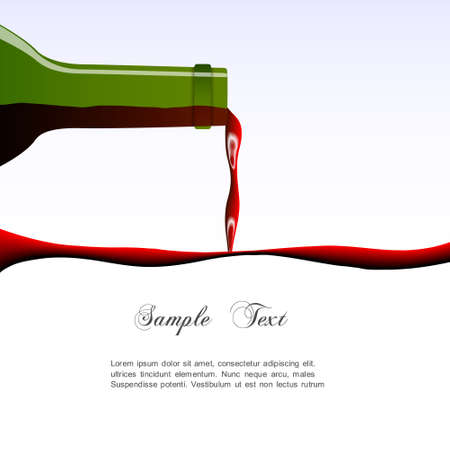 glass with red wine: Pouring wine concept  Vector illustration Illustration