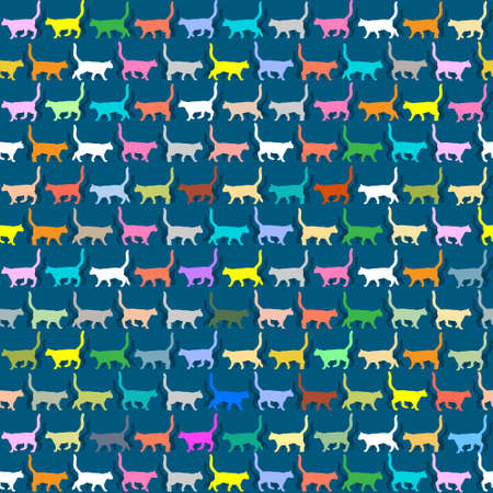 Seamless wallpaper with colorful silhouettes cats Vector