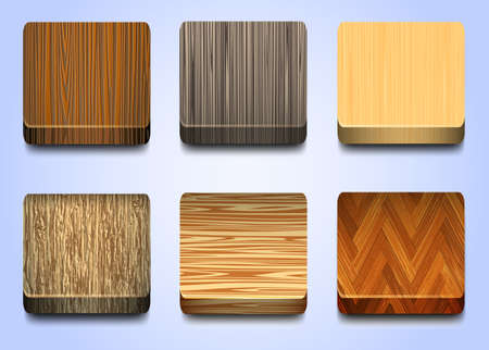 Six icons with wooden texture Vector
