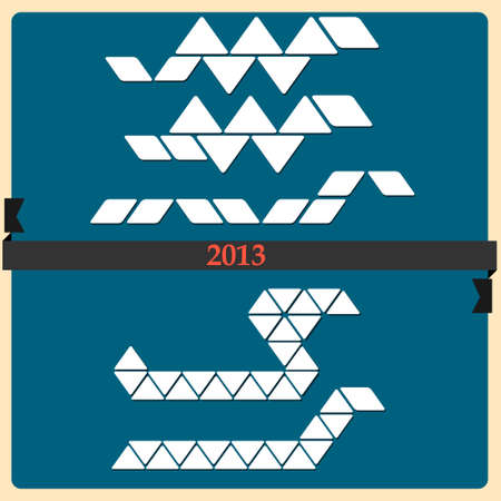Stylized Snake - symbol 2013 new year  Vector set Vector