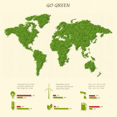 Stylized world map with eco infographic elements Illustration