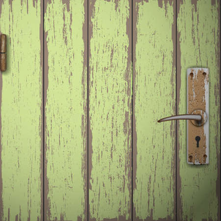 doorhandle: Background of old wooden door. Vector illustration
