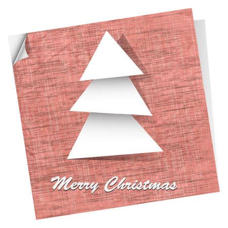 Pink vector postcard with paper christmas tree Vector