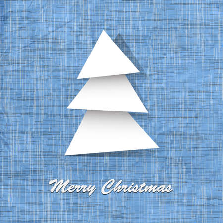 Stylish vector postcard with paper christmas tree Vector