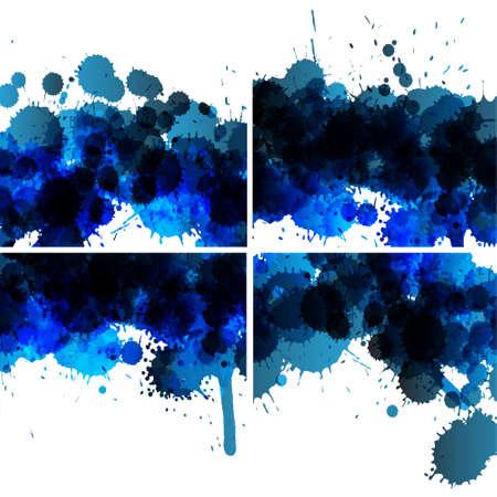 set of ink blots backgrounds