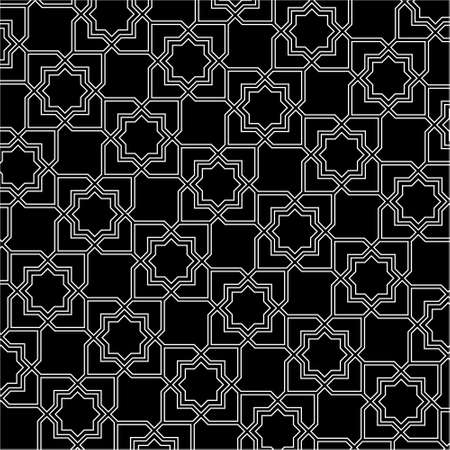 delicate arabic motif: Black and white arabic pattern background