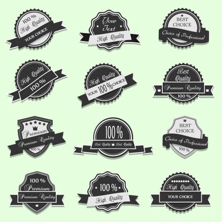 Black Premium Quality labels set Stock Vector - 14711036