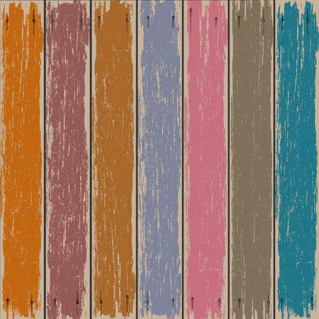 Gekleurde oude houten hek achtergrond Vector Illustratie