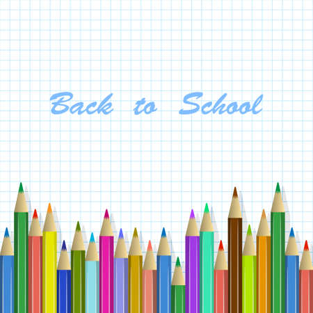 back to school: school background with colored pencils Illustration