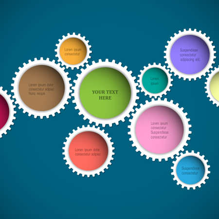 Colorful abstract gear wheels. Vector design template Vector