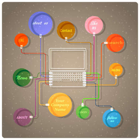 Colorful web design template. Stock Vector - 14920682