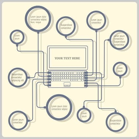 electronic device:  Concept laptop. Vector design template