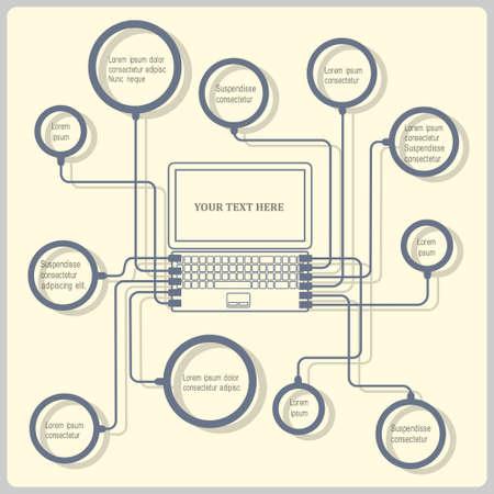 conectar: Concepto port�til. Vector plantilla de dise�o