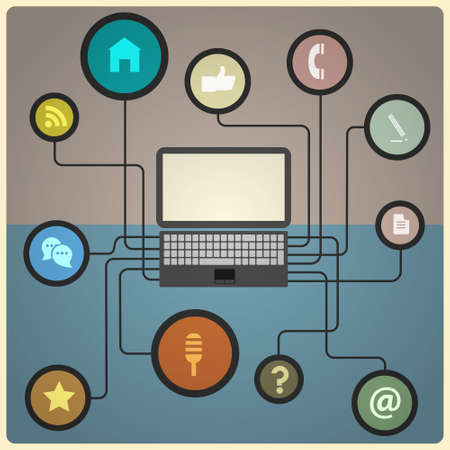 Concept of network. Vector illustration in retro colors Vector