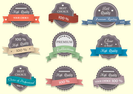 Nine Premium Quality labels. Vector
