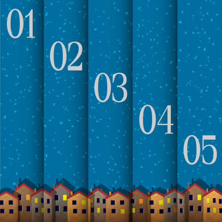 Numbered banners with paper town winter.  Vector